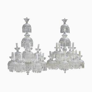 Große Kronleuchter aus Kristallglas mit 12 Leuchtstellen, 1950er, 2er Set