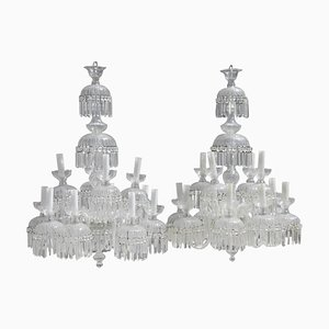 Large Crystal 12-Light Chandeliers, 1950s, Set of 2