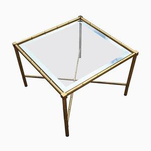 Mesa de centro italiana de latón macizo y vidrio, años 70