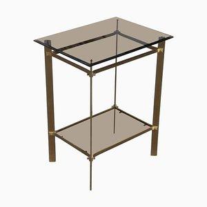 Mesa auxiliar pequeña de latón y vidrio con dos niveles, años 70