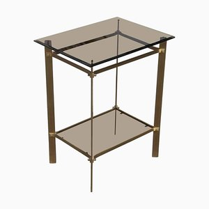 Small Brass & Glass 2-Tier Side Table, 1970s