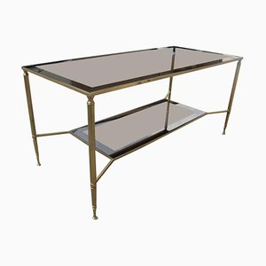 Italian Brass & Mirrored Glass Coffee Table, 1970s