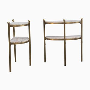 Onyx & Brass Nightstands or Console Tables, 1970s, Set of 2