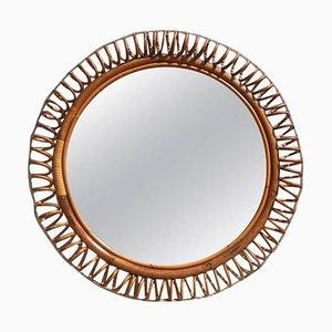 Italienischer Spiegel mit Rattanrahmen, 1950er