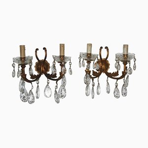 Mid-Century Italian Bronze & Crystal Sconces, 1950s, Set of 2