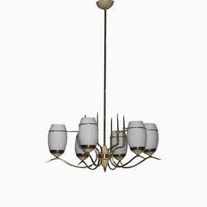 Mid-Century Italian Brass & Murano Glass Chandelier in the Style of Stilnovo