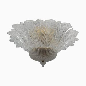 Lámpara de araña floral de cristal de Murano, años 70