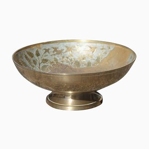 Brass Bowl with Engravings & Enamels, 1950s