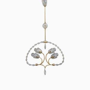 Lámpara de araña italiana de cristal de Murano, años 40