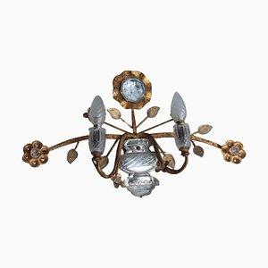 Aplique grande de cristal y metal chapado en oro de Maison Jansen, años 70