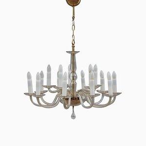 Lámpara de araña italiana de cristal de Murano, años 50