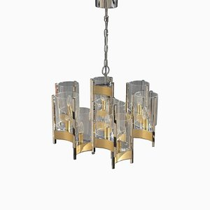 Italian Brass & Glass Chandelier from Sciolari, 1970s