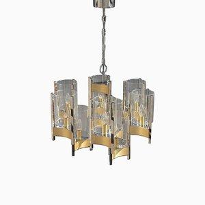 Lámpara de araña italiana de latón y vidrio de Sciolari, años 70