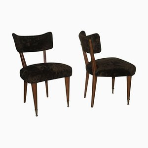 Italian Wood & Chenille Club Chairs, 1950s, Set of 2