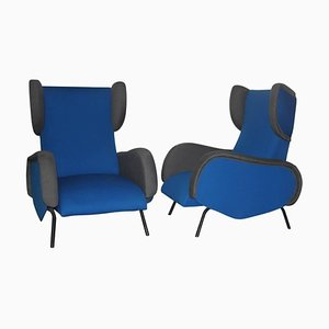 Mid-Century Blue & Grey Lounge Chairs, Set of 2