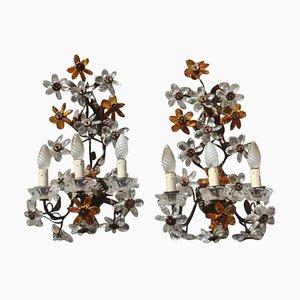Französische Mid-Century Wandleuchten aus Kristallglas mit Blumendekor, 2er Set