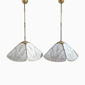 Brass and Glass Ceiling Lights, 1970s, Set of 2