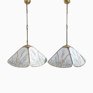 Lámparas de techo de latón y vidrio, años 70. Juego de 2
