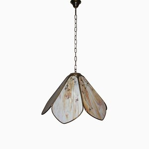 Italian Brass & Decorated Glass Ceiling Lamp, 1970s