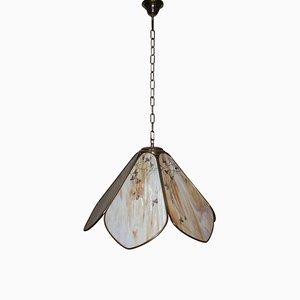 Lámpara de techo italiana de latón y vidrio decorado, años 70