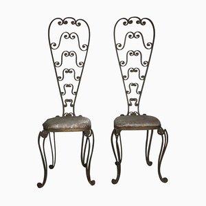 Metallstühle mit hoher Rückenlehne von Pier Luigi Colli, 1950er, 2er Set