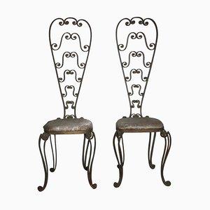 Sillas de metal con respaldo alto de Pier Luigi Colli, años 50. Juego de 2