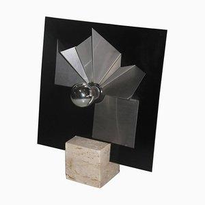 Lámpara de mesa de mármol, plexiglás y acero, años 70
