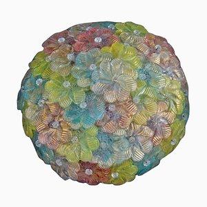 Lámpara de techo floral de cristal de Murano artístico, años 40