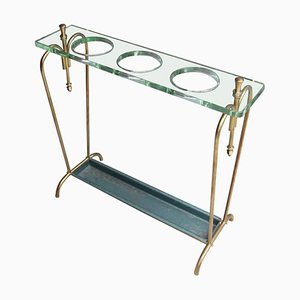 Mid-Century Brass & Crystal Glass Umbrella Stand, 1950s
