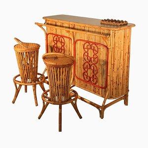 Juego de bar y taburetes italiano Mid-Century de Bonacina, años 50. Juego de 3