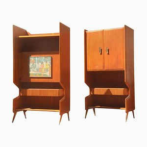Italian Mahogany Bar Cabinets, 1950s, Set of 2