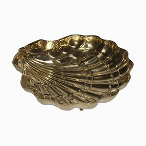 Large Embossed Brass Shell Bowl, 1950s