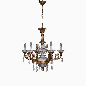 24-Carat Gold & Porcelain Chandelier, 1970s