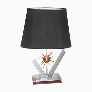 Lámpara de mesa italiana vintage de cobre, acero, latón y plexiglás, años 70