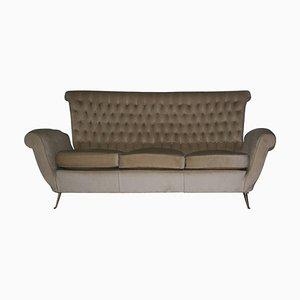 Mid-Century Velvet & Brass Sofa from ISA Bergamo