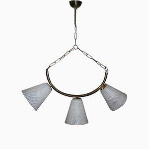 Lámpara de techo Mid-Century de latón, cristal de Murano Reticello