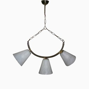 Mid-Century Deckenlampe aus Messing & Muranoglas