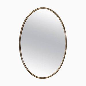 Espejo grande oval de latón rosa, años 70