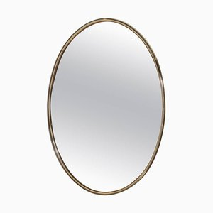 Specchio grande ovale in ottone rosa, anni '70