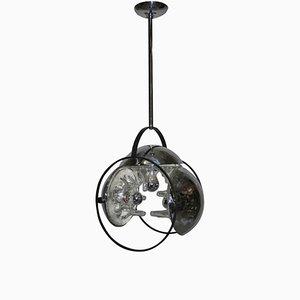 Lámpara de araña italiana de acero y vidrio de Mazzega, años 70