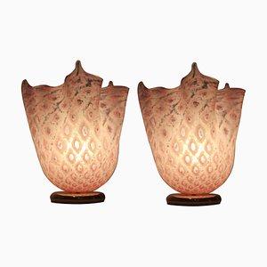 Lámparas Handkerchief de cristal de Murano de VeArt, años 70. Juego de 2