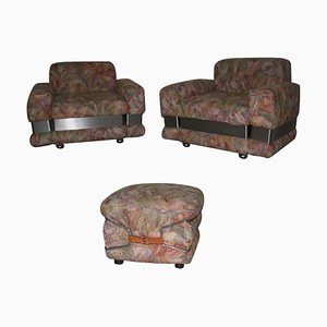 Vintage Armchairs and Ottoman, 1970s, Set of 3