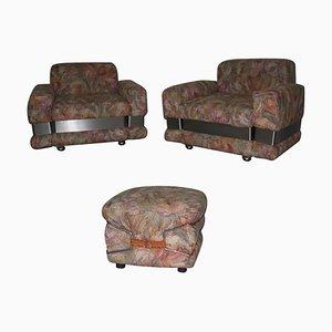 Vintage Sessel und Fußhocker, 1970er, 3er Set