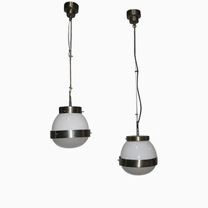 Italian Delta Ceiling Lamps by Sergio Mazza, 1960s, Set of 2