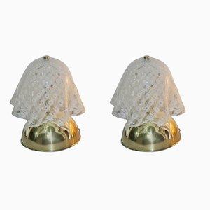 Italienische Tischlampen mit Schirm aus Muranoglas in Tuch-Optik von VeArt, 1970er, 2er Set