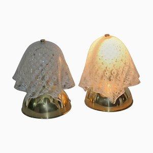 Lámparas de mesa Handkerchief italianas de cristal de Murano de VeArt, años 70. Juego de 2
