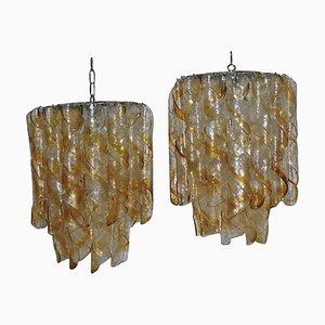 Lámparas de araña italianas amarillas, años 70. Juego de 2