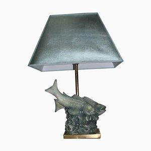 Lámpara de mesa escultural con base en forma de peces de Guido Cacciapuoti, años 60