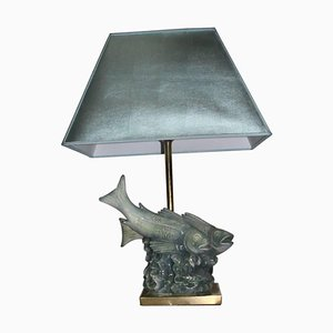 Skulpturale Tischlampe mit Fuß in Fisch-Optik von Guido Cacciapuoti, 1960er