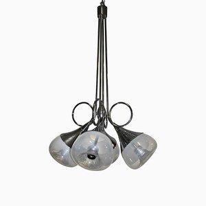 Lámpara de araña de acero y cristal de Murano de Esperia, años 70